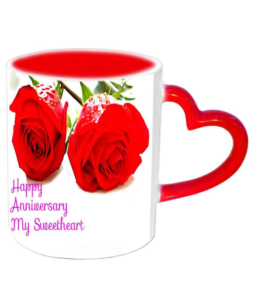 Jiya Creation Happy Anniversary My Sweetheart Red Heart Handle Ceramic Mug    350 Ml