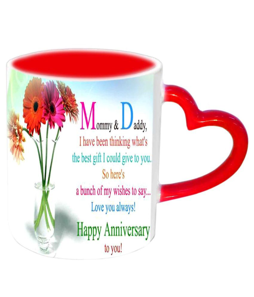 Jiya Creation Mom Dad Happy Anniversary Red Heart Handle Ceramic