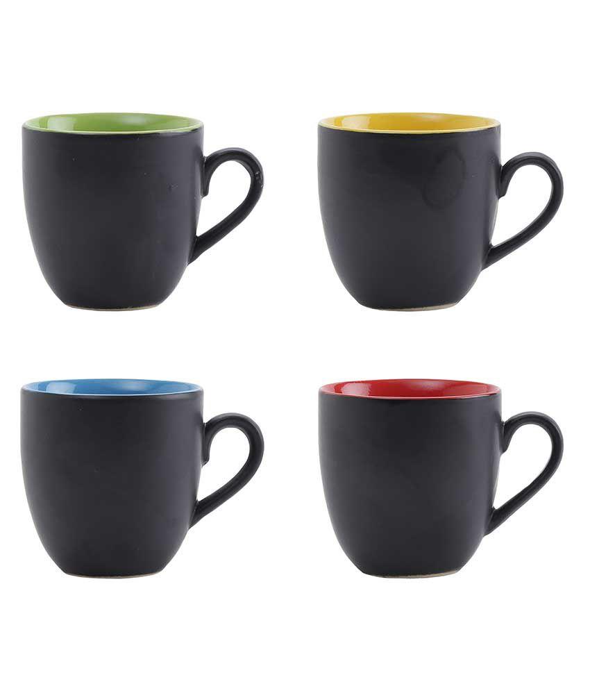 Kittens Multi Color Matt Finish Black Ceramic Tea / Coffee Mugs Set Of 4
