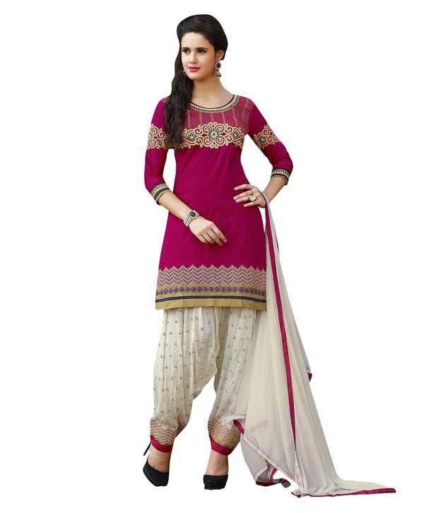 Kvsfab Grey and Beige Cotton Dress Material