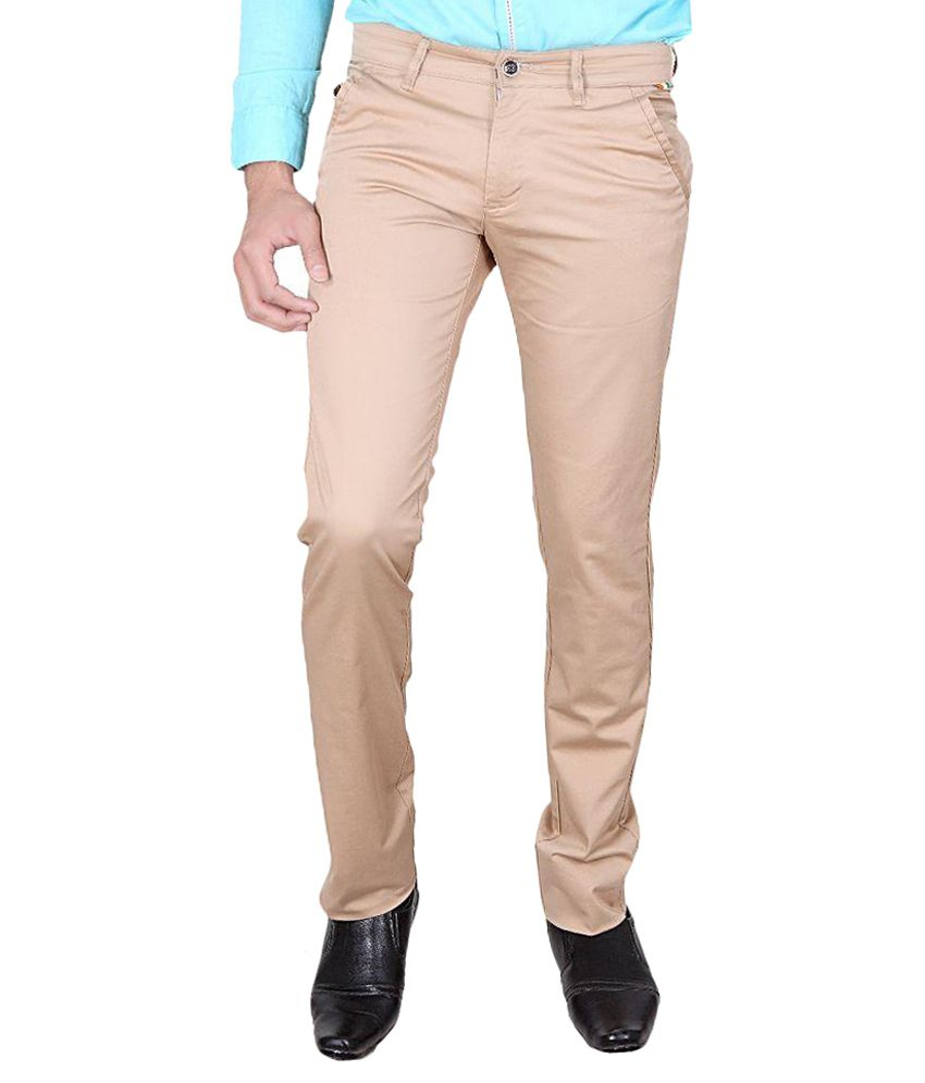 The Real Indians Beige Slim Fit Flat Trousers
