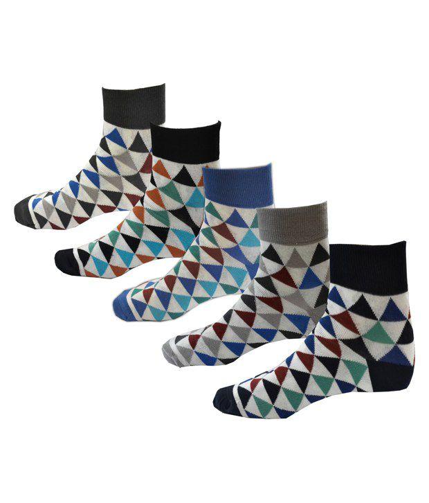 AVM HW Velvet Multicolor Cotton Ankle Length Socks for Men - Pack of 5