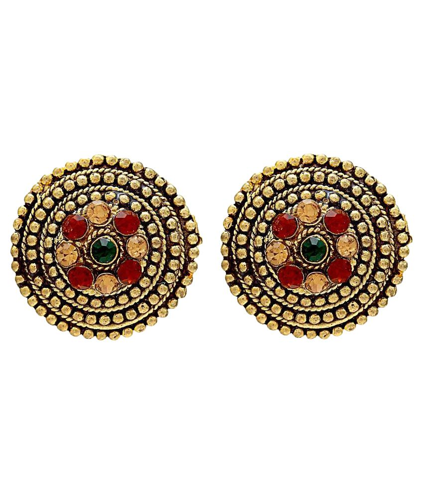 Memoir Colourful CZ studded Antique look Rasrawa Stud Earring for Women