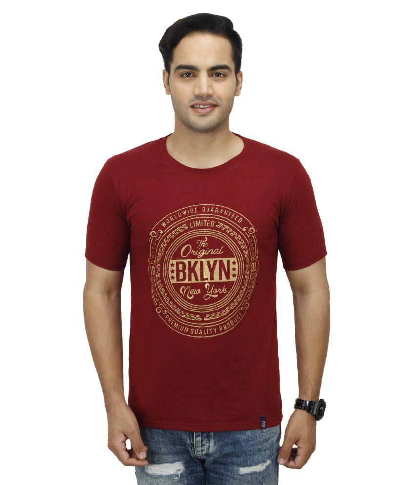 Inkdice Maroon Round T Shirts