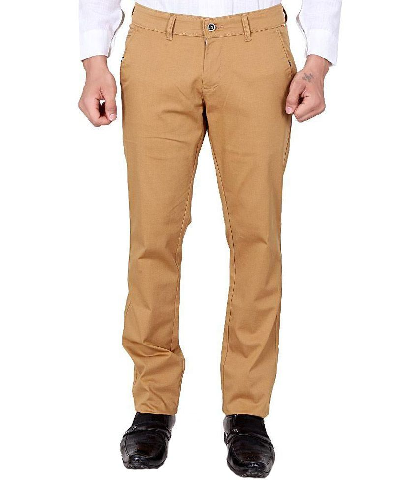 The Real Indians Khaki Slim Fit Flat Trousers