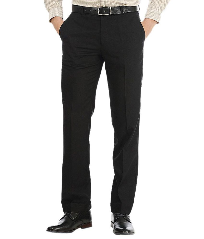Ad & Av Black Regular Fit Pleated Trousers