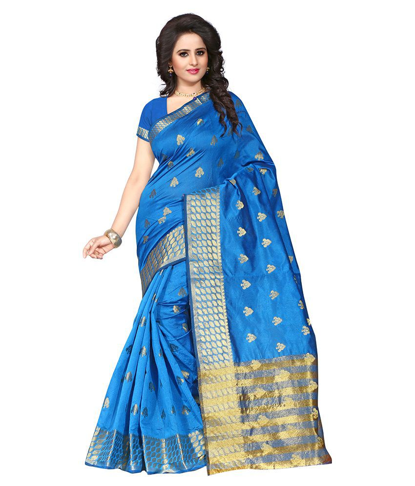 London Beauty Blue and Grey Cotton Saree