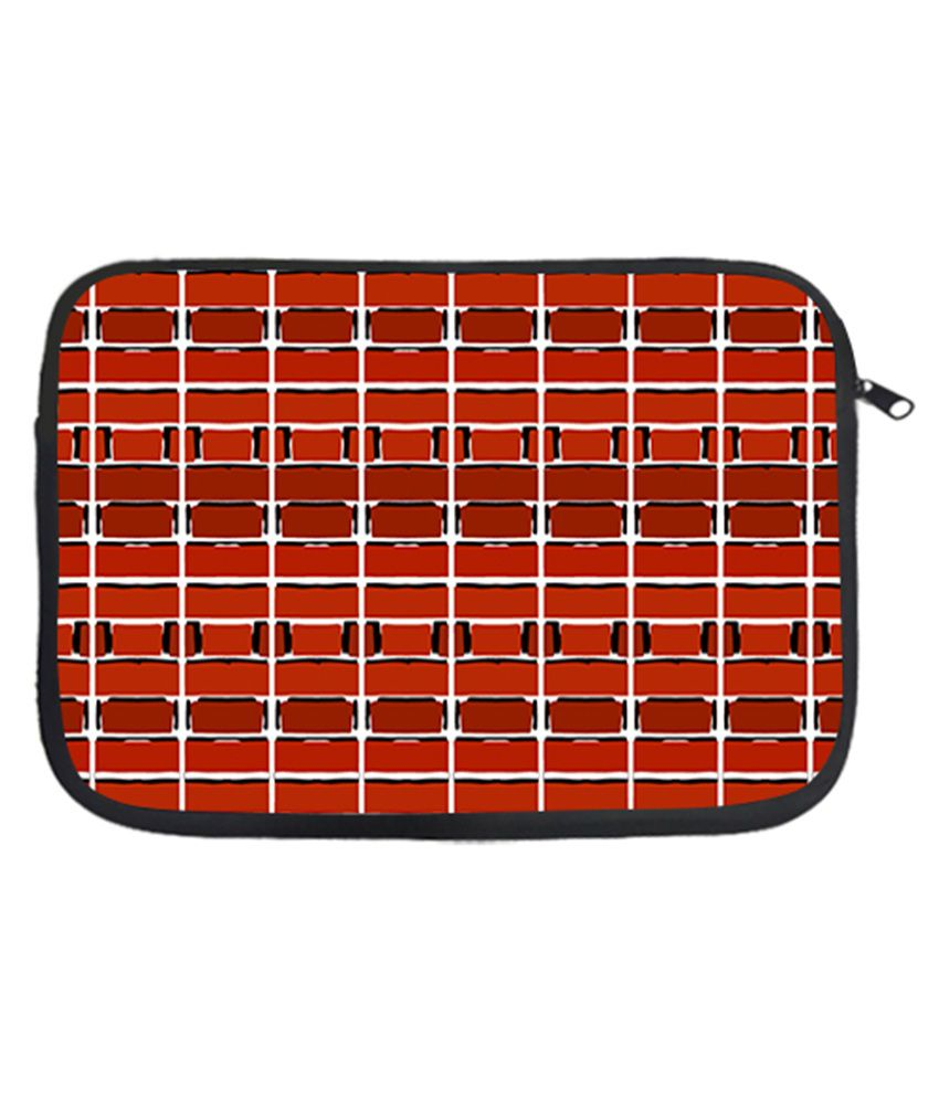 Via Flowers Polyester Laptop Sleeve Red Colored 13 Inch - Multicolor