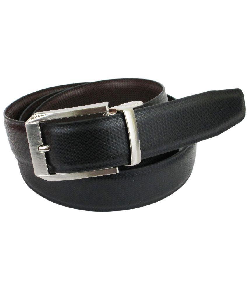 ABHINAVS Black and Brown Leather Reversible Formal Belt For Men