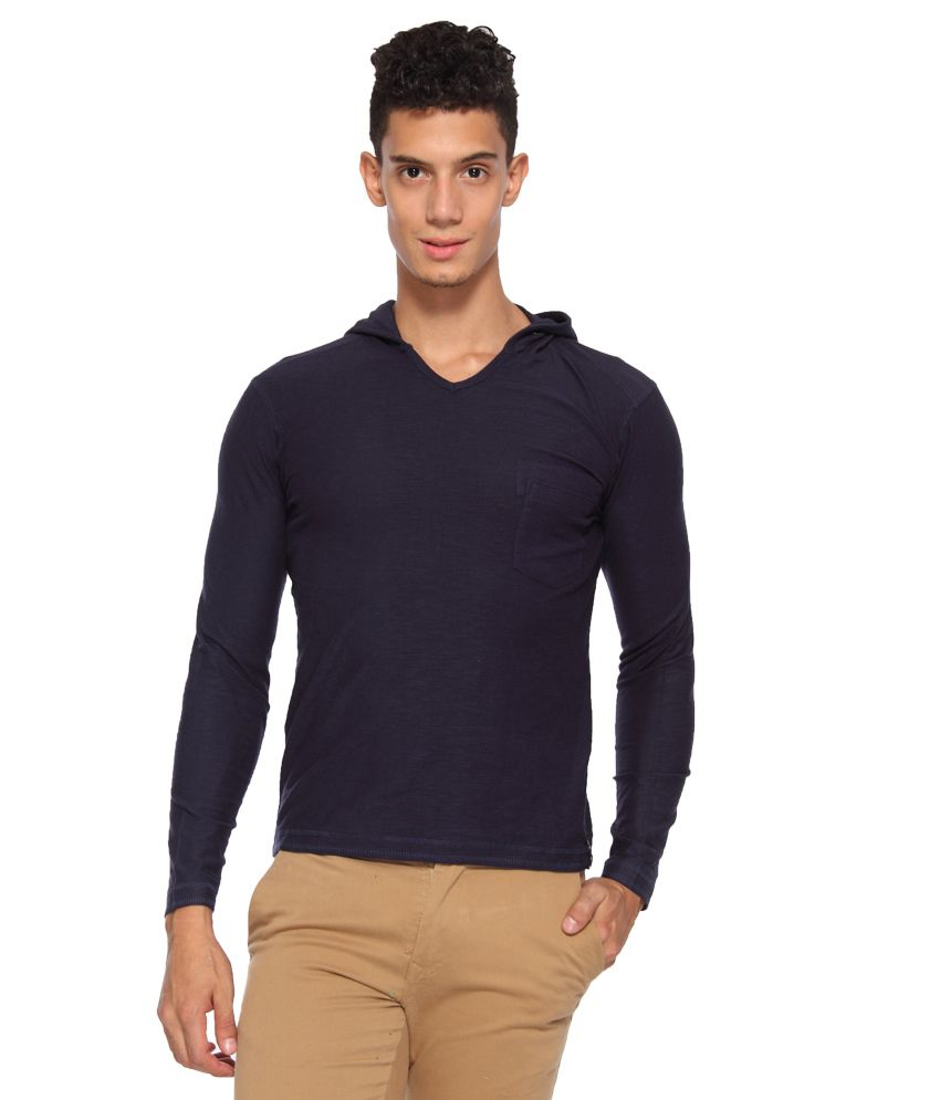 Arise By Beroe Navy Hooded T Shirts