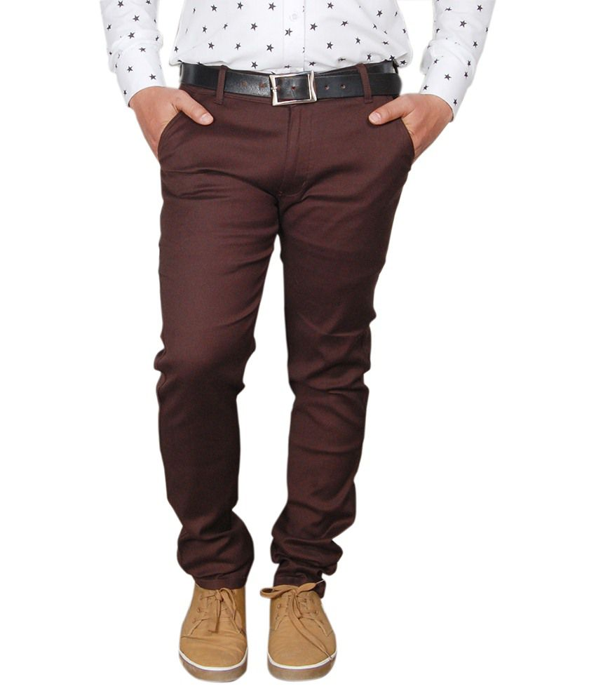 Avastra Maroon Regular Fit Flat Trousers