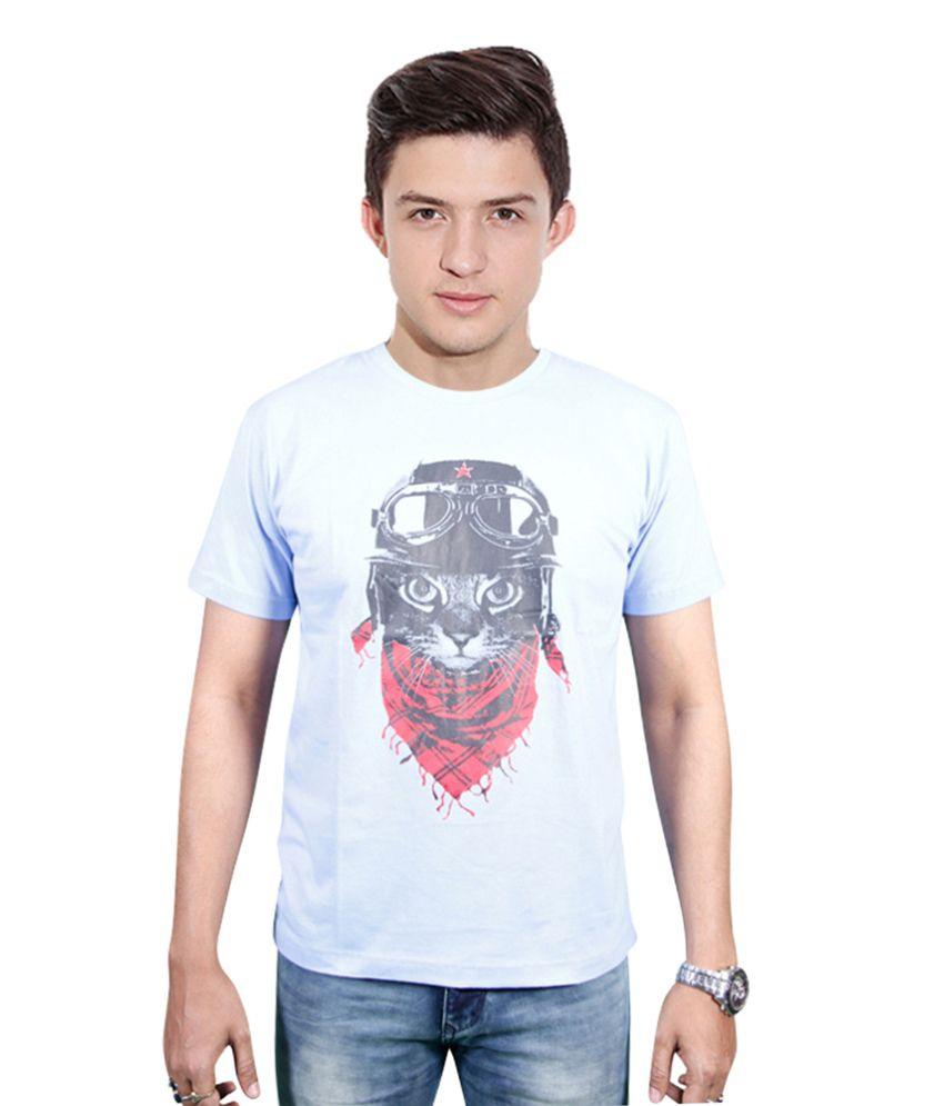 FYDA Printed Grey Round T Shirts