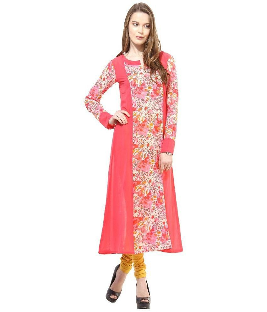 Fashion By Netanya Pink Georgette Straight Kurti