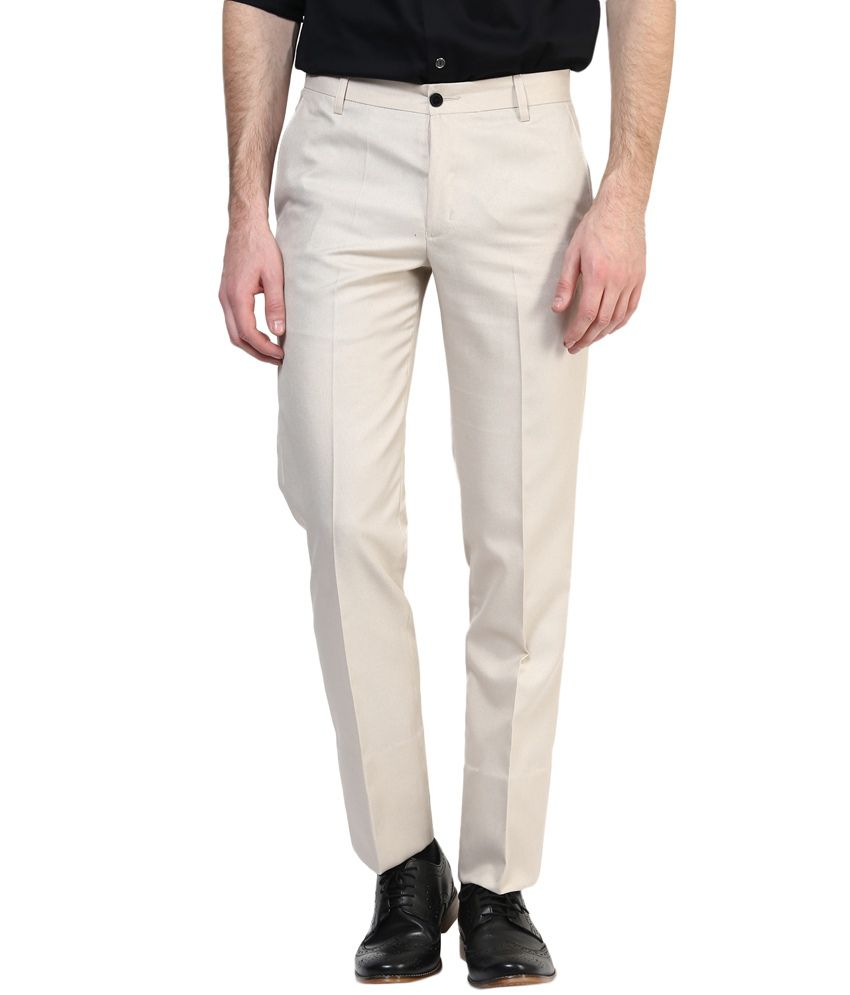 Bukkl Beige Slim Fit Formal Flat Trousers