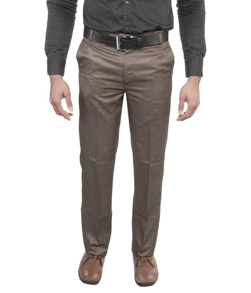 Ultimate Choice Beige Slim Fit Flat Trousers