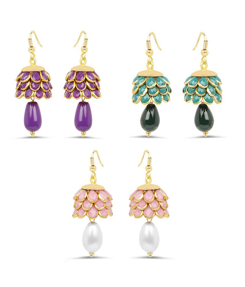 Johareez Multicolour Pacchi Jhumki Earrings - Pair of 3