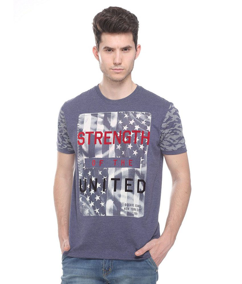 Octave Blue Round T Shirts