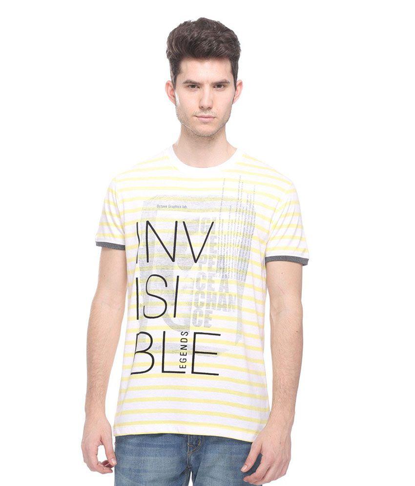 Octave Yellow Round T Shirts
