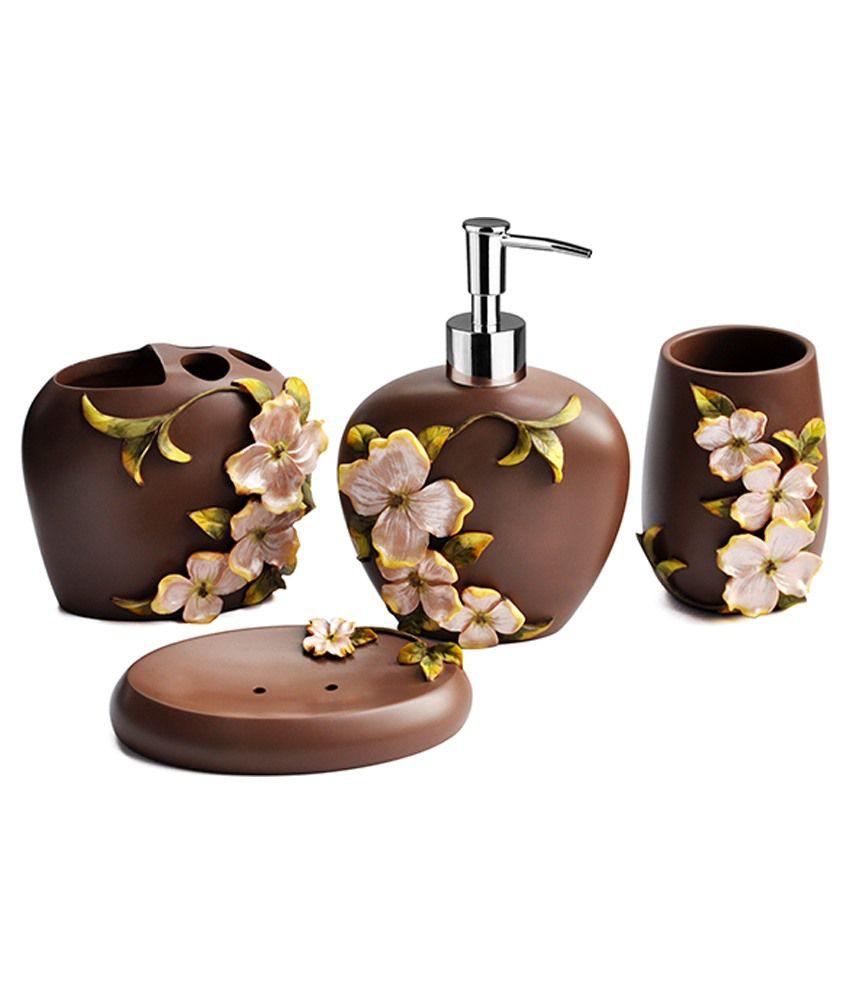 Shresmo Brown Resin Flora Bathroom Set