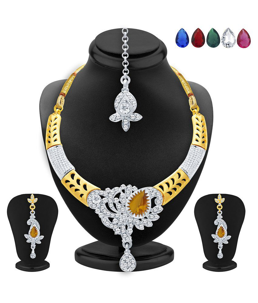 2519NADP500_S1 Golden and Silver Alloy Necklace Set With Maang Tika