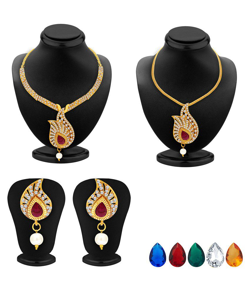 2566NADP550_S1 Golden and Silver Alloy Necklace Set