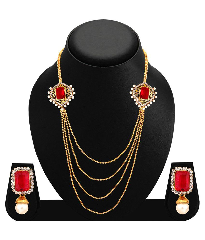 2712NADD1100 Golden and Silver Alloy Necklace Set