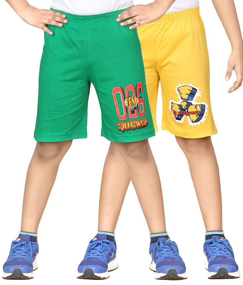 Dongli Multicolor Cotton Printed Shorts - Pack of 2