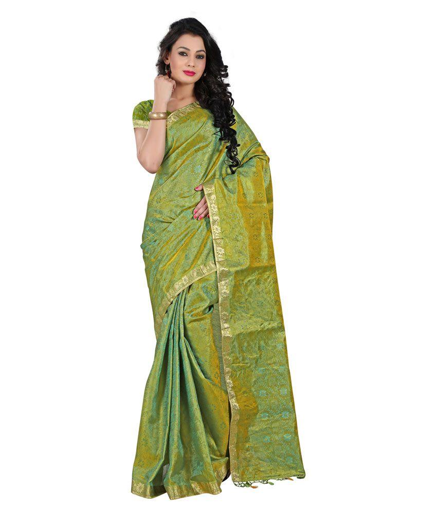 Prisha Green Art Silk Saree