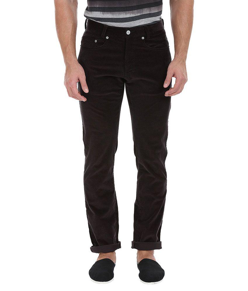 Zobello Brown Regular Fit Flat Trousers