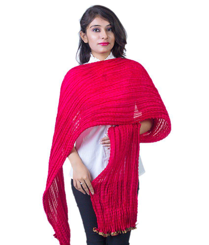 Craftland Red Plain Art Silk Dupatta