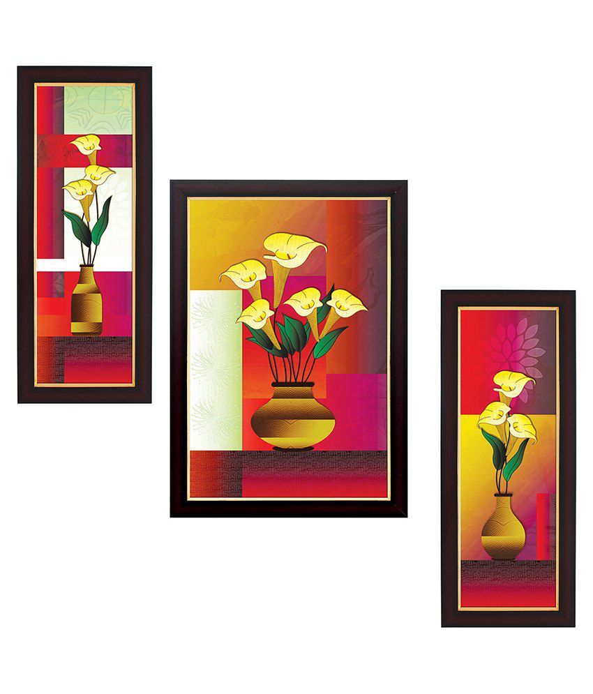 Delight Multicolour Wooden Flower Poster With Frame Set Of 3