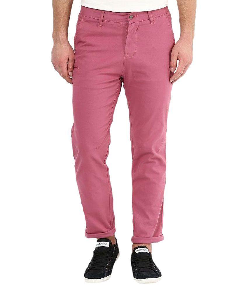 Srota Pink Slim Fit Flat Trouser