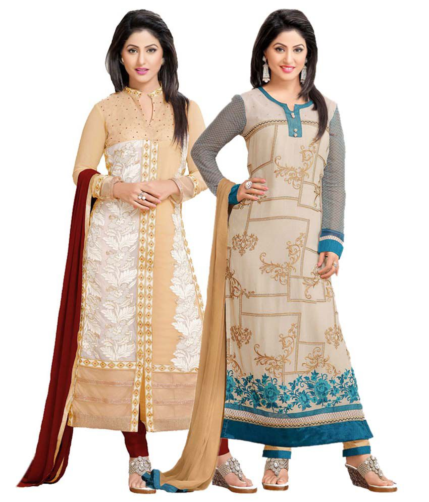 Sudev Multicoloured Georgette Straight Semi Stitched Dress Material