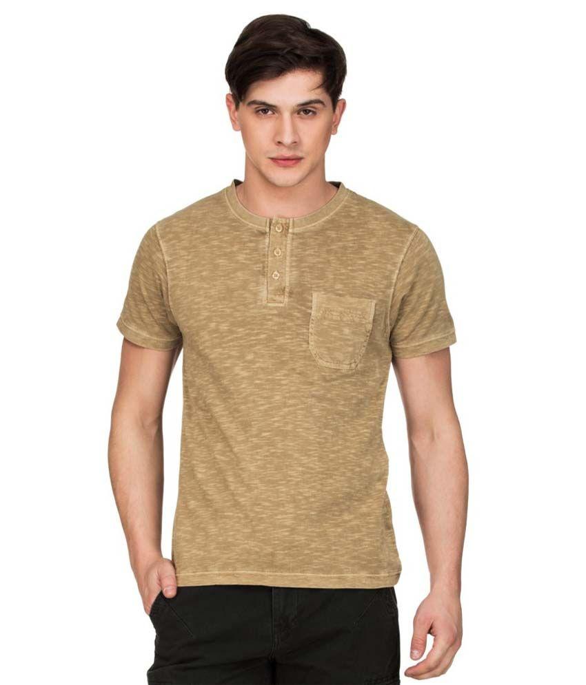 Zovi Beige Henley T Shirts