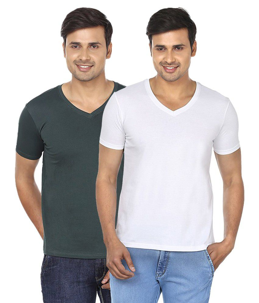 Fashionmania By Glanz Multi V-Neck T Shirts Combo of 2