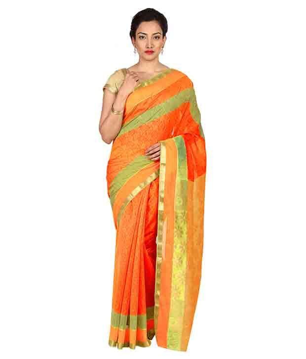 Platinum Orange Cotton Silk Saree