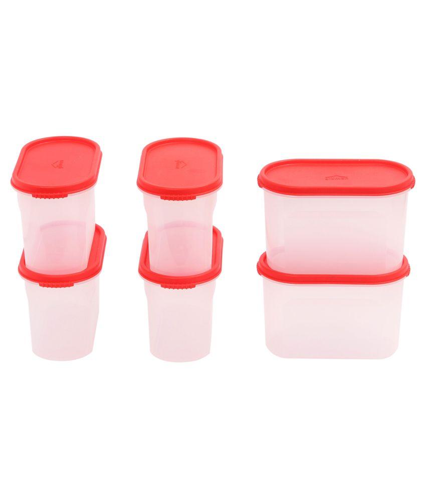 Gluman Red Polypropylene Kitchen Storage Container Box Set Of 6