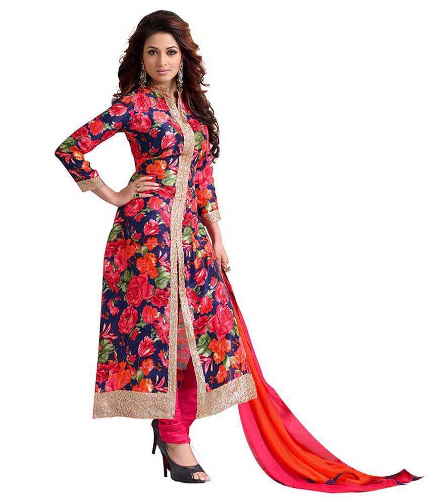 Gurukrupa Creation Multi Color Bhagalpuri Silk Pakistani Suits ...