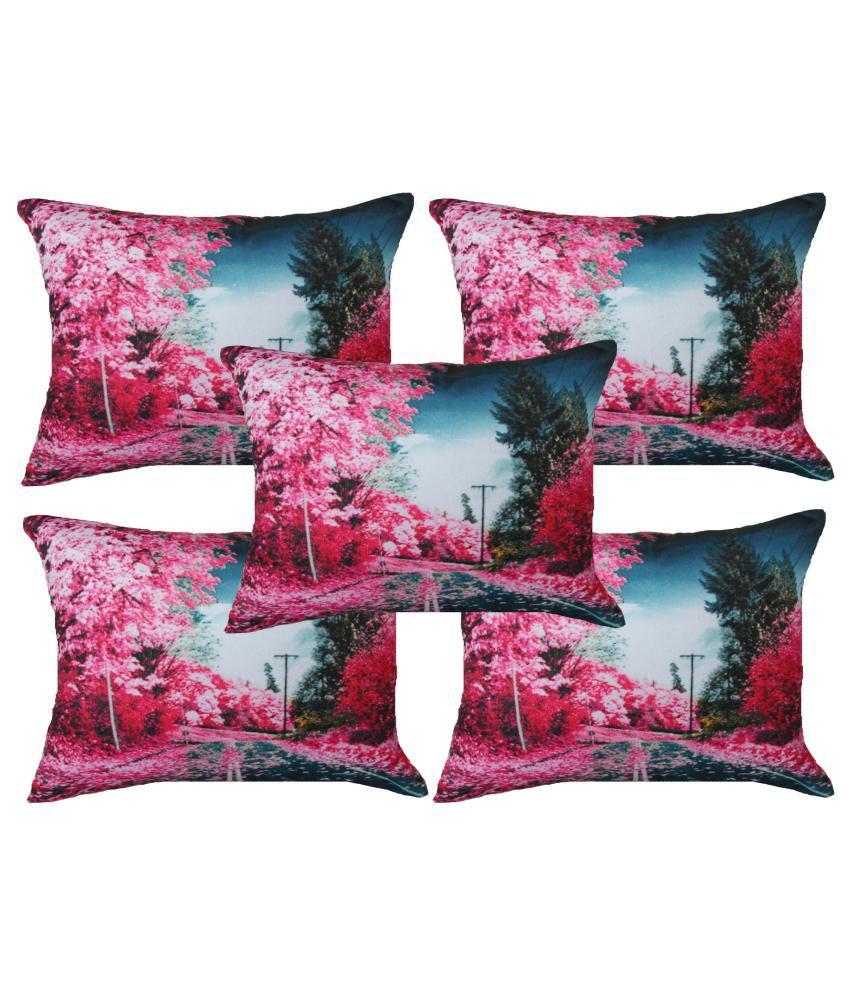 Home Shine Multicolour Floral Velvet Cushion Cover - Set of 5
