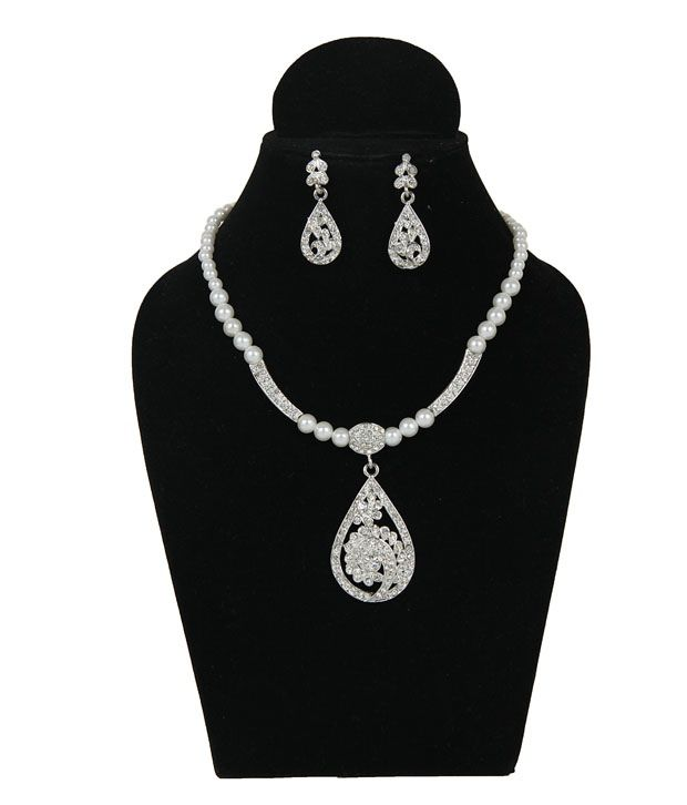 Touchstone AD Silver Teardrop Pearl Necklace Set