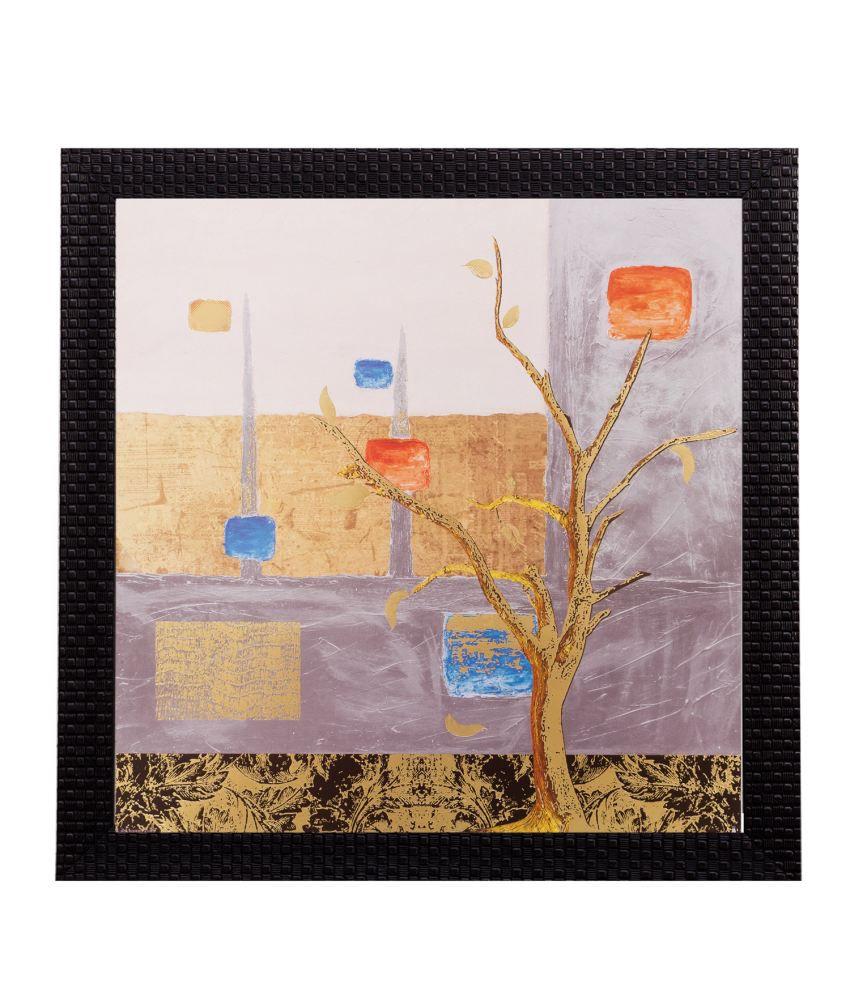 eCraftIndia Abstract Tree Matt Textured Framed UV Art Print
