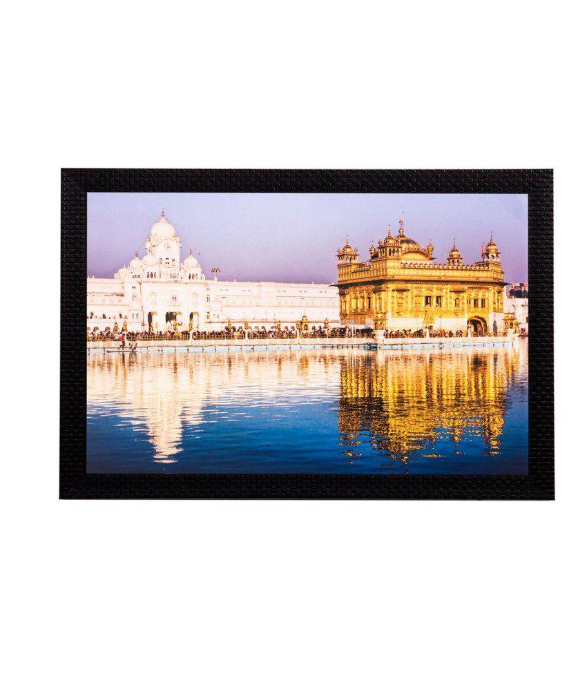 eCraftIndia Beautiful Golden Temple Matt Textured Framed UV Art Print