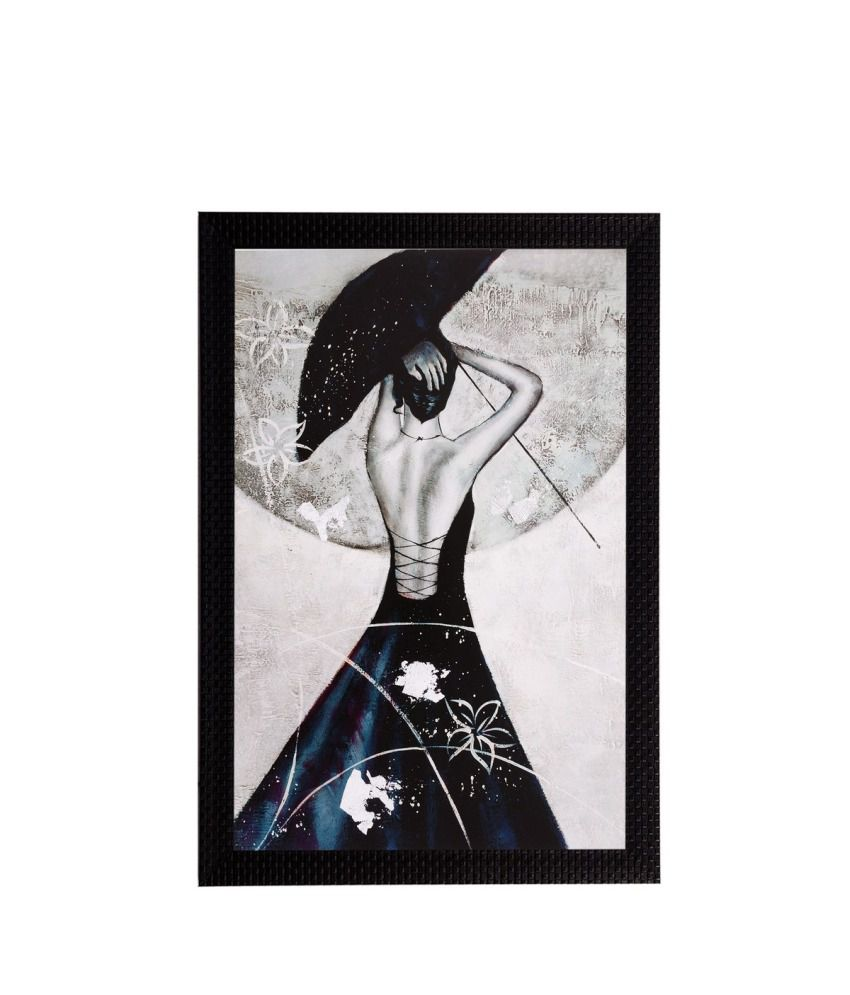 eCraftIndia Black & White Girl Matt Textured Framed UV Art Print