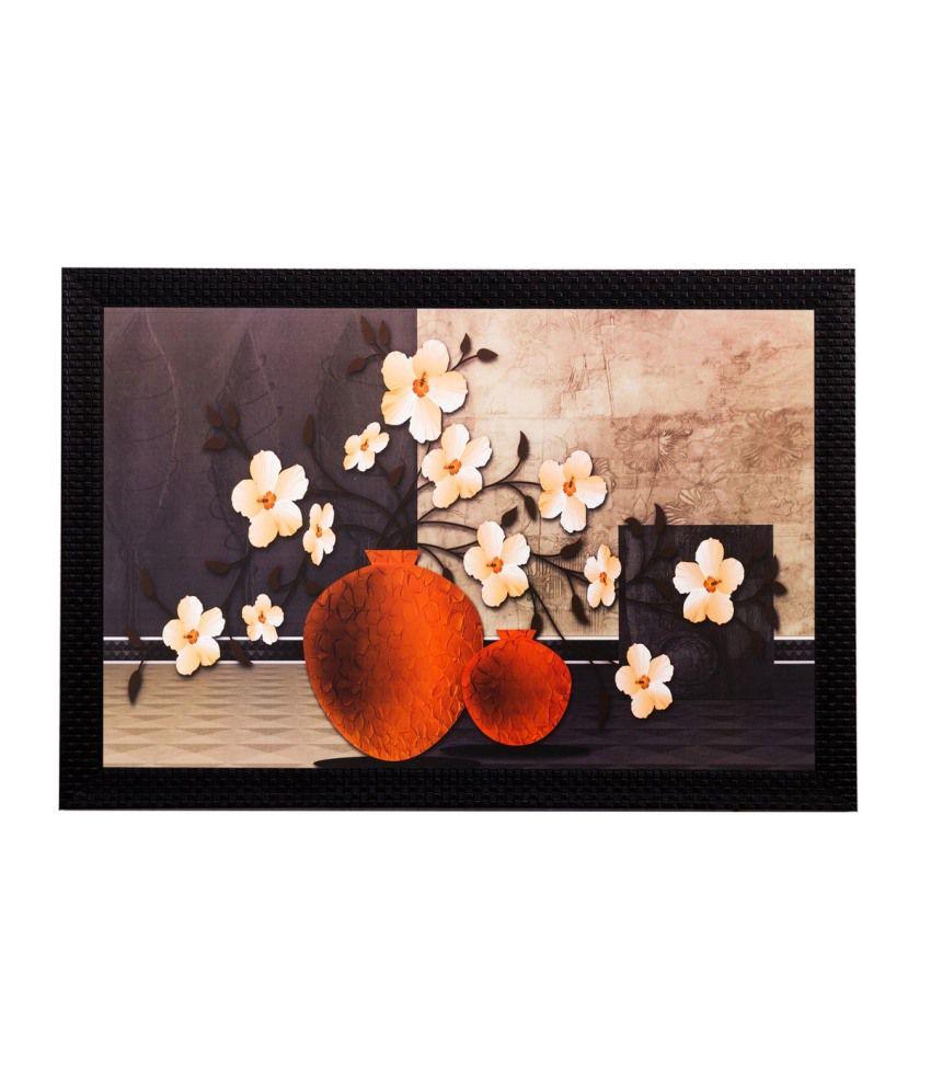 eCraftIndia Botanical Off White Flower Matt Textured Framed UV Art Print