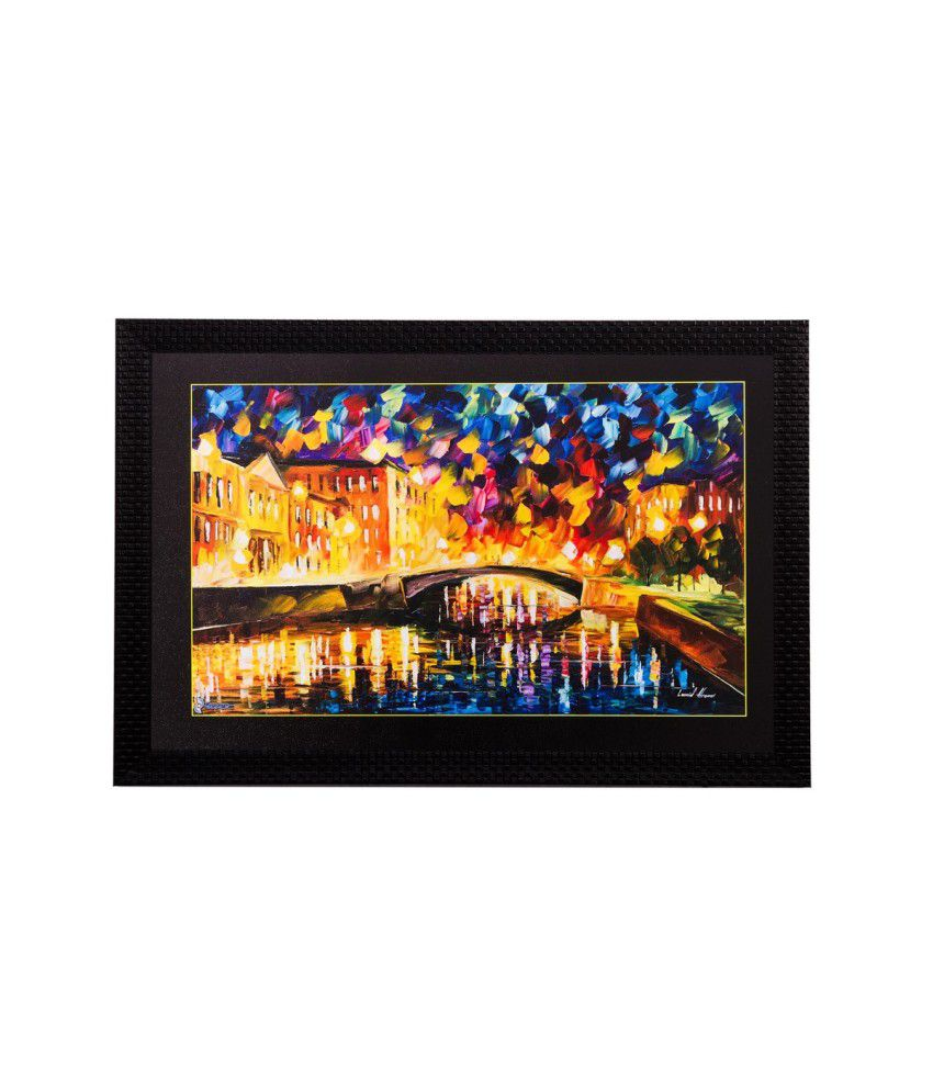 eCraftIndia Colourful Bridge View Matt Textured Framed UV Art Print