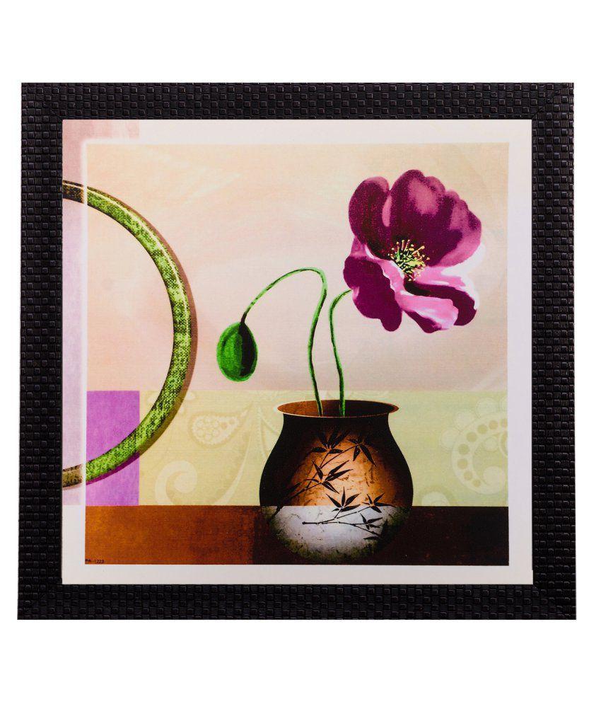 eCraftIndia Floral Pot Matt Textured Framed UV Art Print