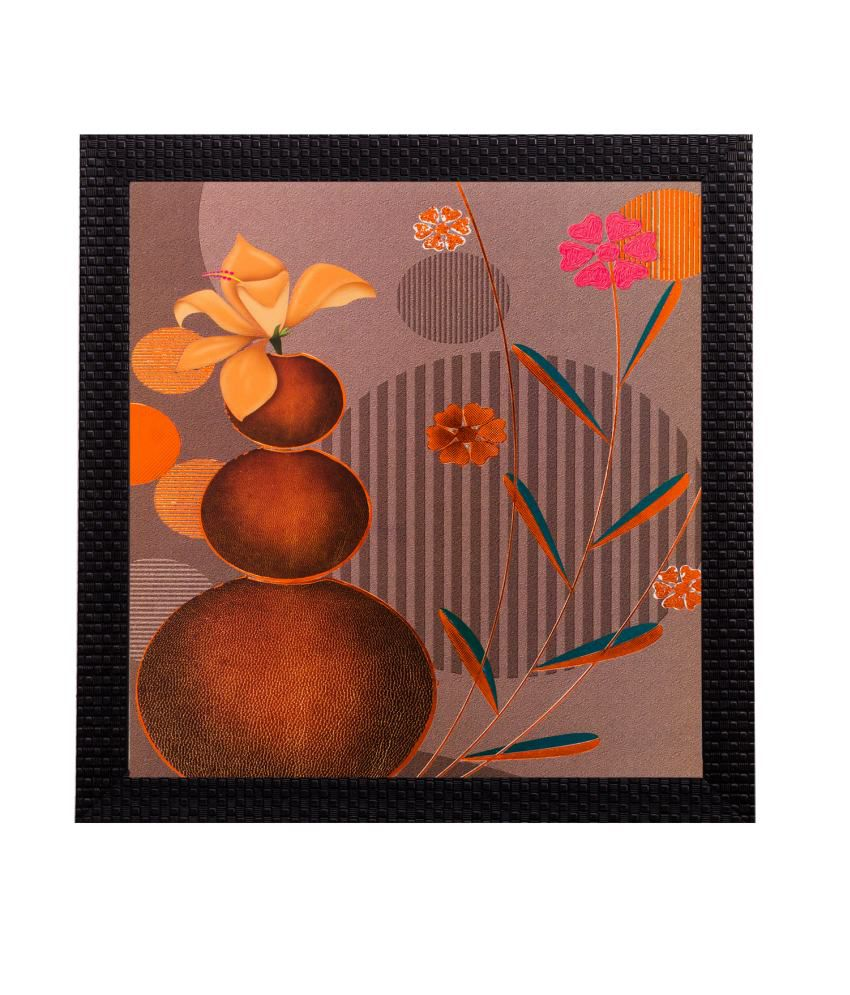eCraftIndia Floral Pot Matt Textured Framed UV Art Print