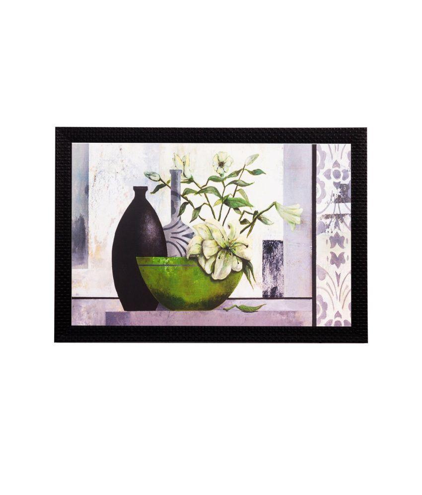 eCraftIndia Green Plant and Vase Matt Textured Framed UV Art Print