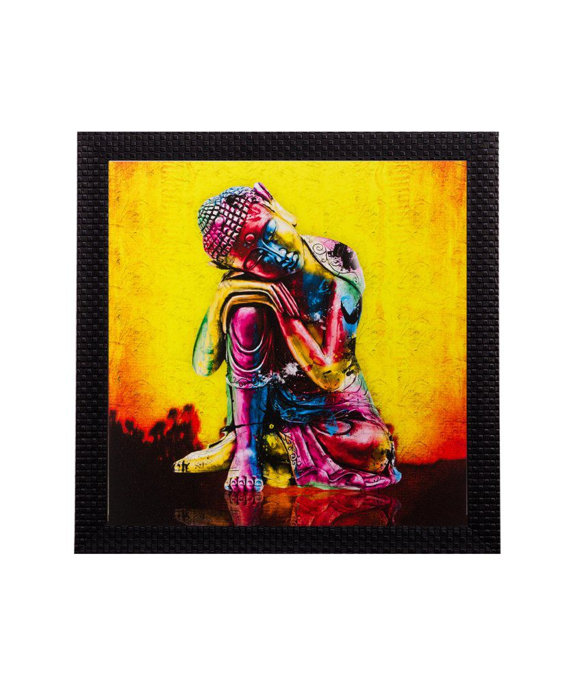 eCraftIndia Knee Buddha Matt Textured Framed UV Art Print