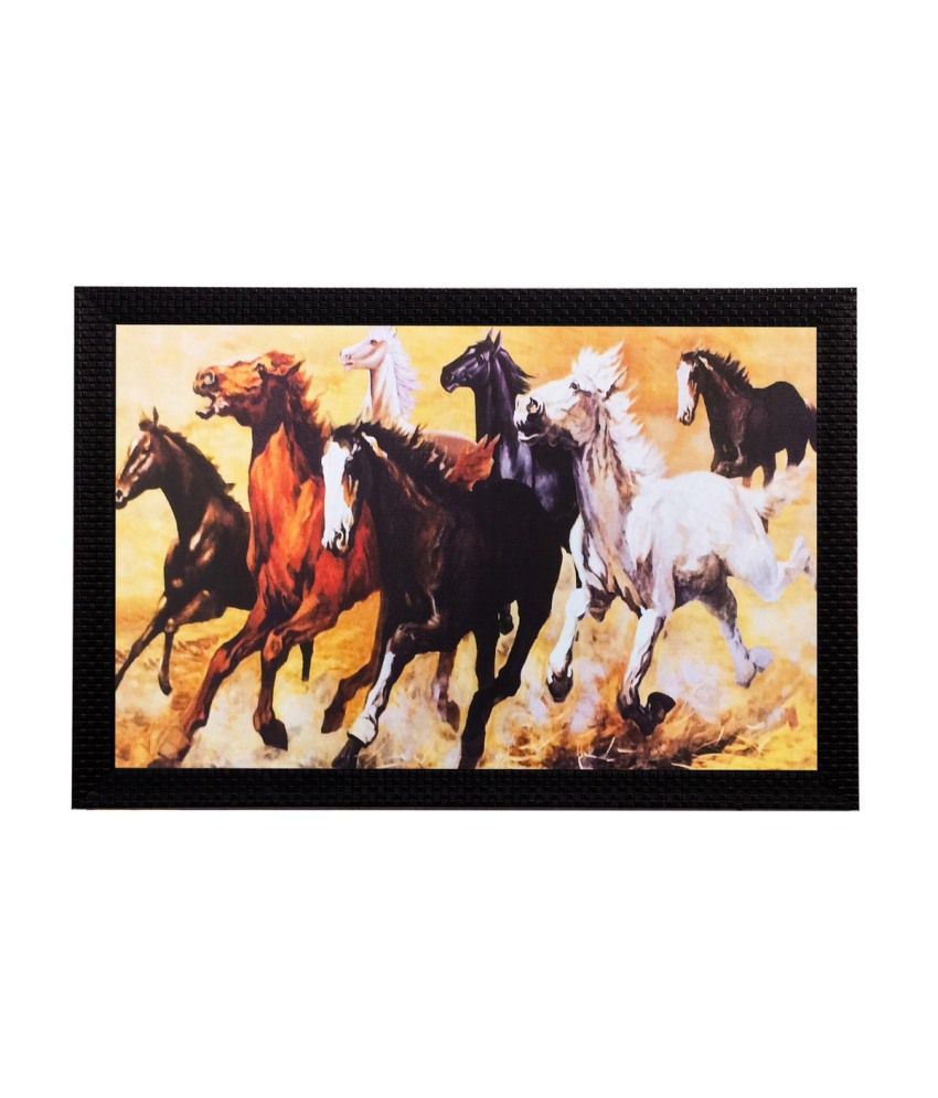 eCraftIndia Lucky Running Horses Matt Textured Framed UV Art Print